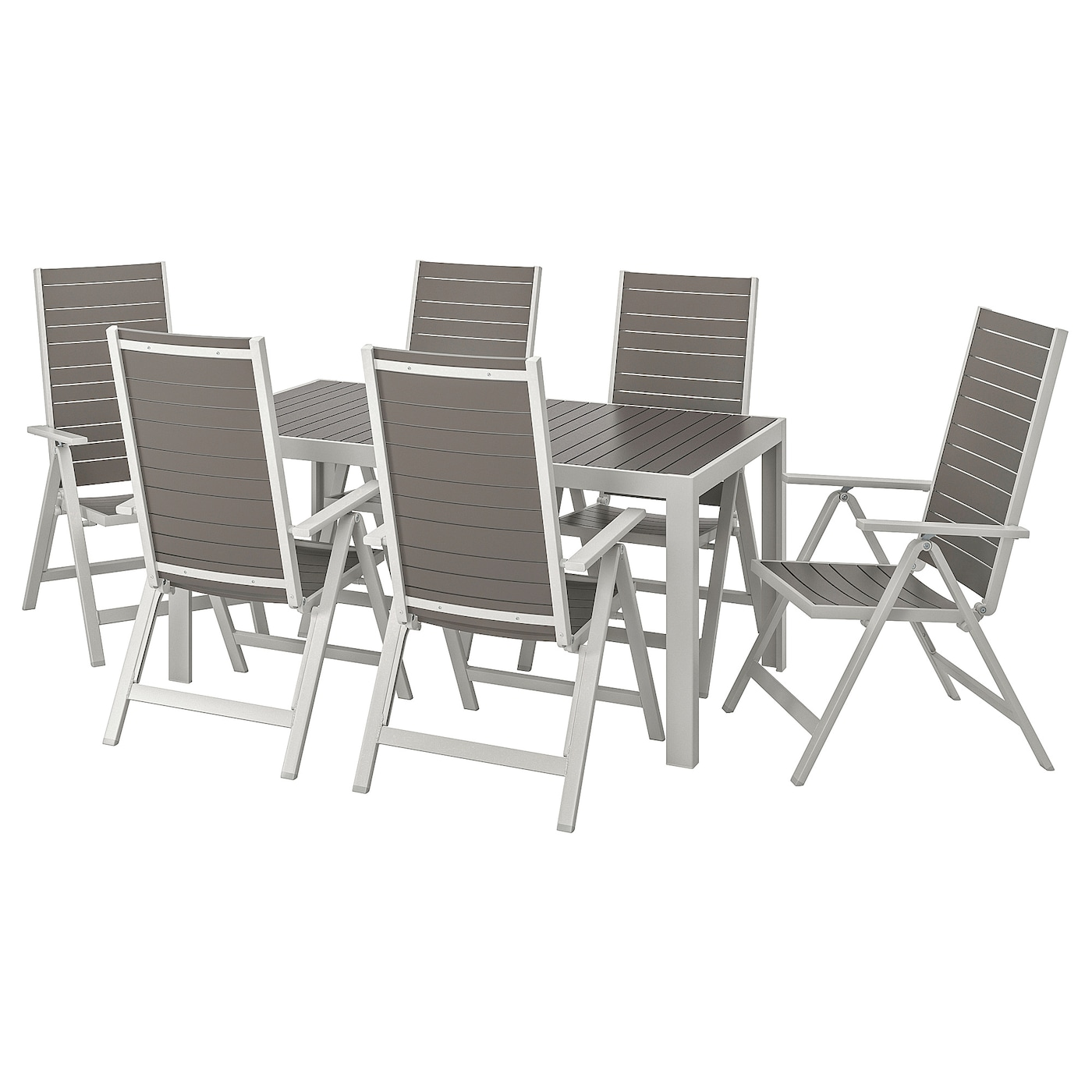 SJÄLLAND Table+6 reclining chairs, outdoor - dark grey ...