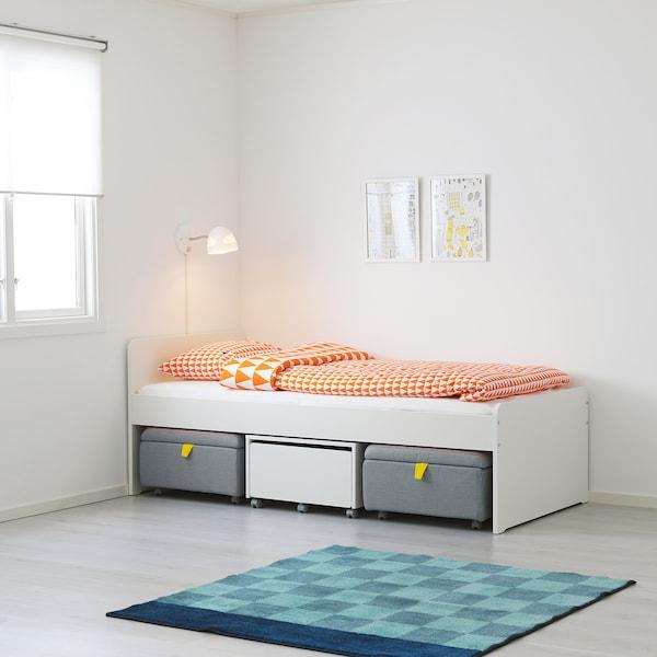 SLÄKT Bed frame with slatted bed base, white, 90x200 cm