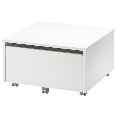 SLÄKT صندوق تخزين بعجلات., أبيض, 62x62x35 سم