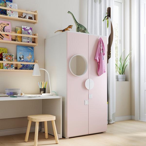 SMÅSTAD / PLATSA خزانة ملابس, أبيض/وردي فاتح, 60x57x123 سم