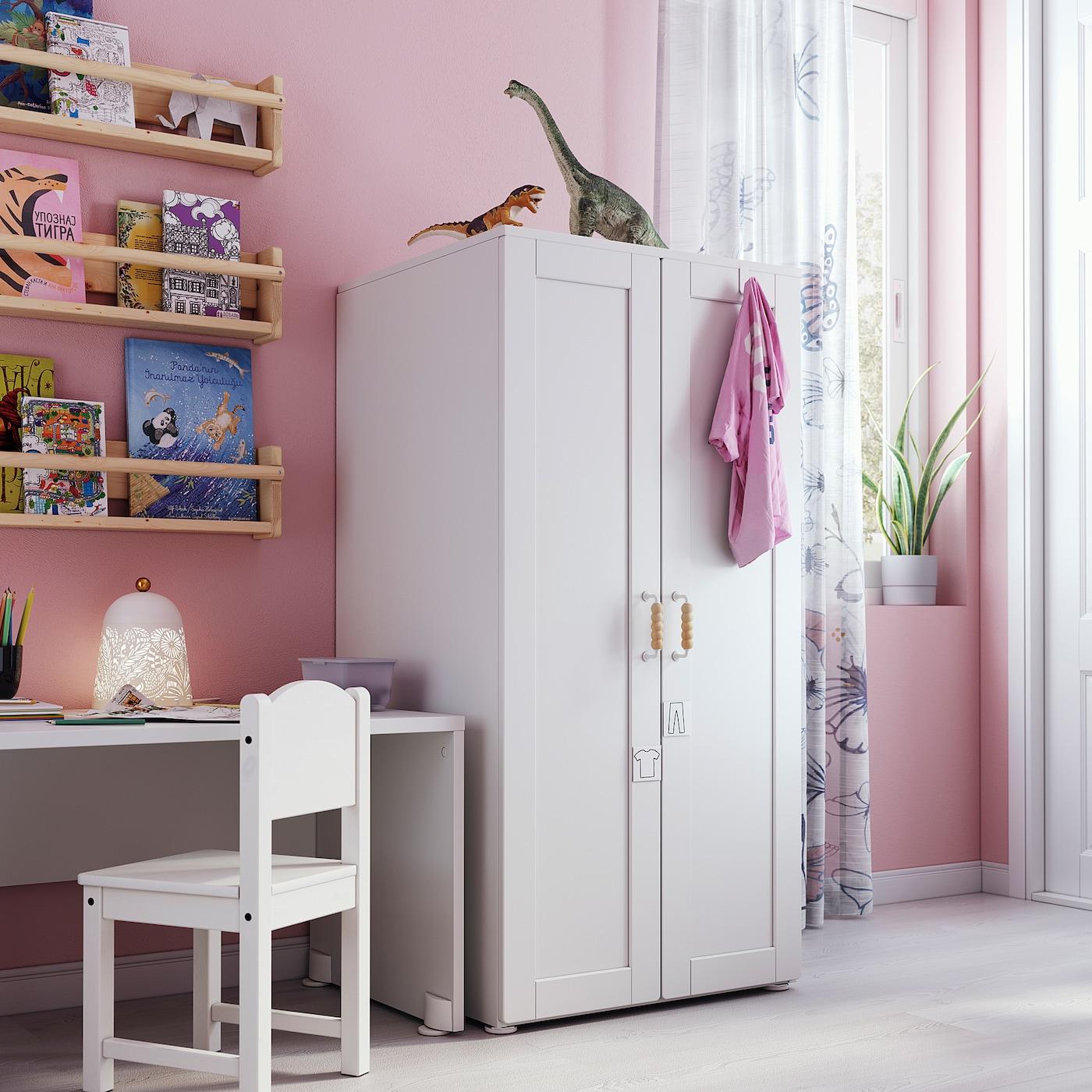 SMÅSTAD / PLATSA خزانة ملابس, أبيض أبيض/مع إطار, 60x57x123 سم