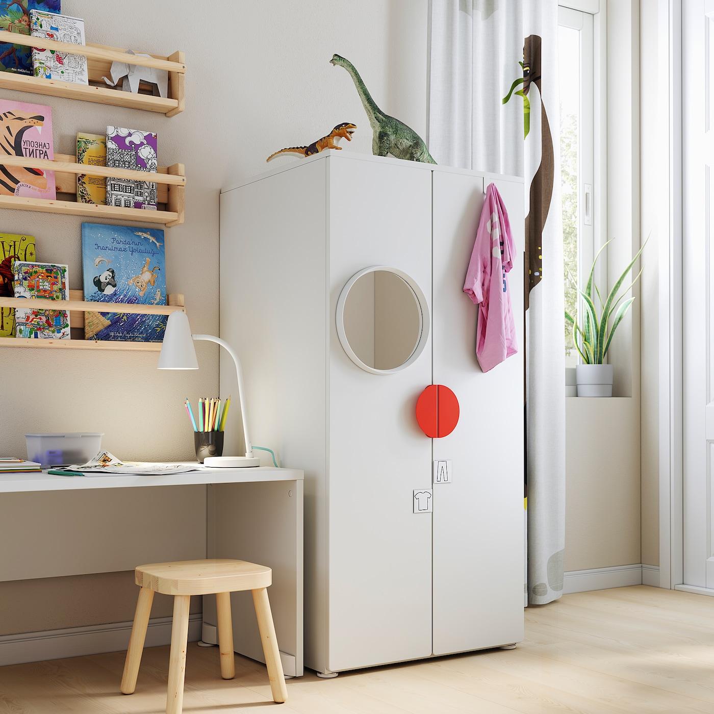 SMÅSTAD / PLATSA خزانة ملابس, أبيض/أبيض, 60x57x123 سم