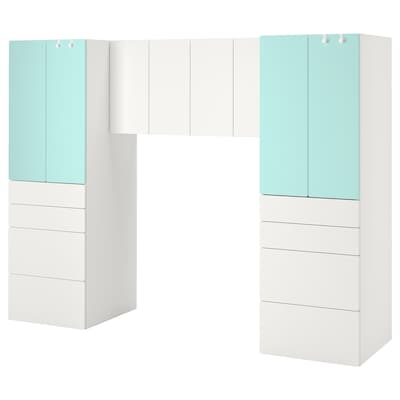 SMÅSTAD تشكيلة تخزين, أبيض/تركواز باهت, 240x57x181 سم