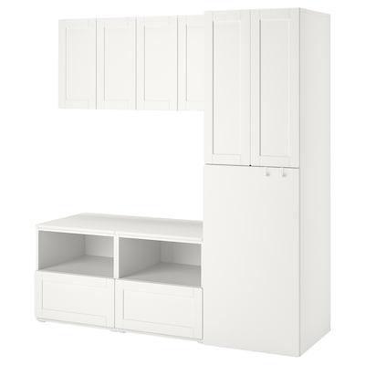 SMÅSTAD تشكيلة تخزين, أبيض مع إطار/مع سحب, 180x57x196 سم