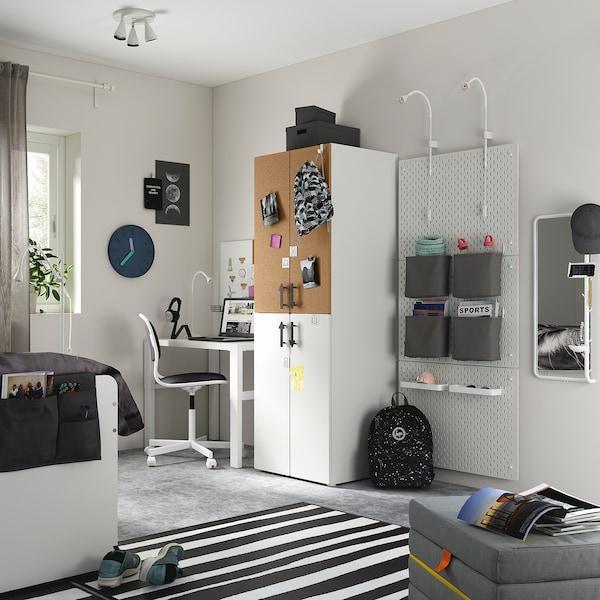 SMÅSTAD خزانة ملابس, أبيض عازل حرارة من الفلّين/مع ماسورتي تعليق ملابس, 60x57x181 سم