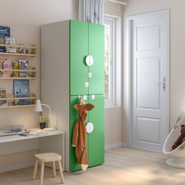SMÅSTAD خزانة ملابس, أبيض أخضر/مع ماسورتي تعليق ملابس, 60x57x181 سم