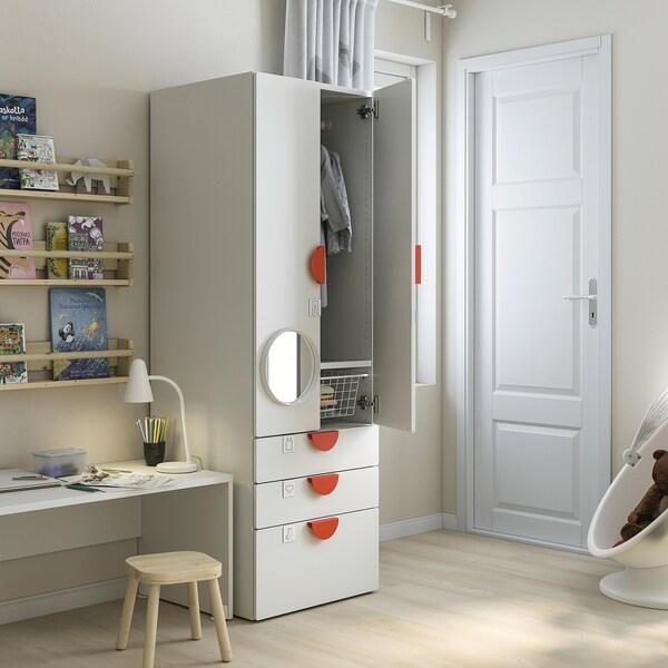 SMÅSTAD خزانة ملابس, أبيض أخضر/مع 3 أدراج, 60x57x181 سم