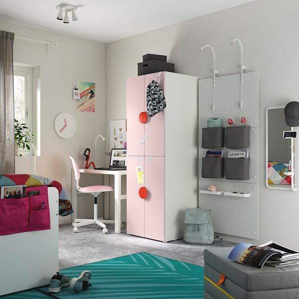 SMÅSTAD خزانة ملابس, أبيض وردي فاتح/مع ماسورتي تعليق ملابس, 60x57x181 سم