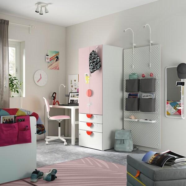 SMÅSTAD خزانة ملابس, أبيض وردي فاتح/مع 3 أدراج, 60x57x181 سم
