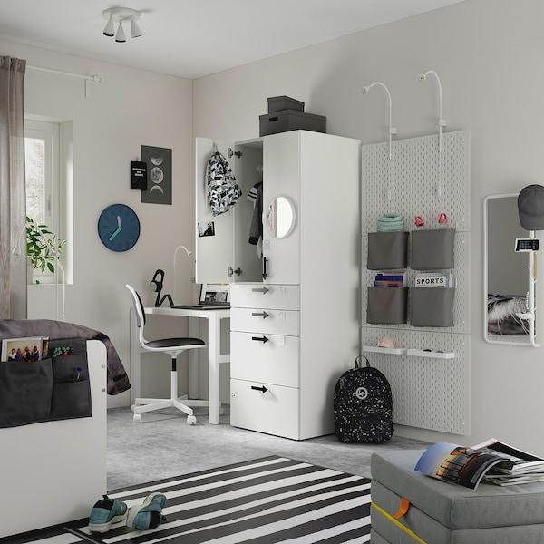 SMÅSTAD خزانة ملابس, أبيض وردي فاتح/مع 4 أدراج, 60x57x181 سم