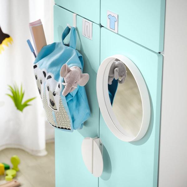 SMÅSTAD خزانة ملابس, أبيض تركواز باهت/مع ماسورتي تعليق ملابس, 60x57x181 سم