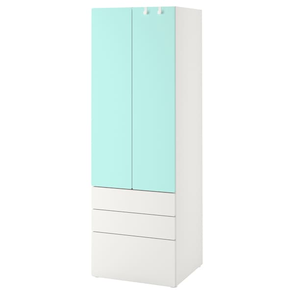 SMÅSTAD خزانة ملابس, أبيض تركواز باهت/مع 3 أدراج, 60x57x181 سم
