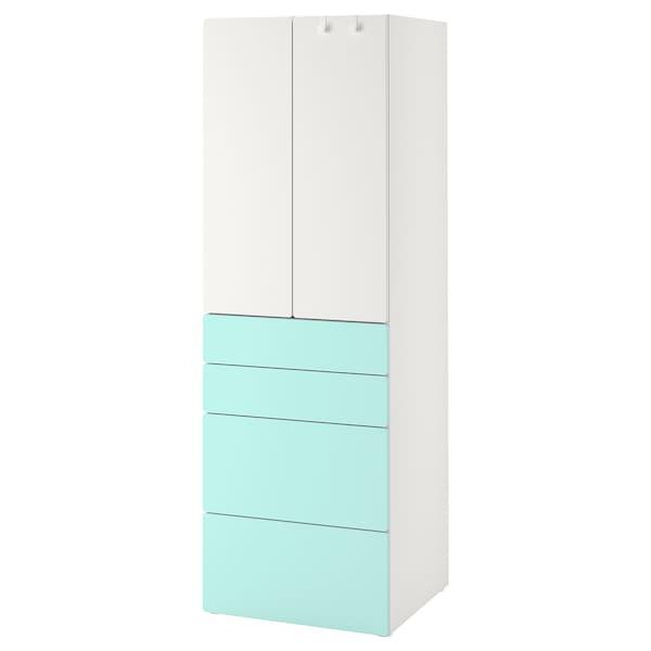 SMÅSTAD خزانة ملابس, أبيض تركواز باهت/مع 4 أدراج, 60x57x181 سم