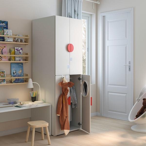 SMÅSTAD خزانة ملابس, أبيض أبيض/مع ماسورتي تعليق ملابس, 60x57x181 سم