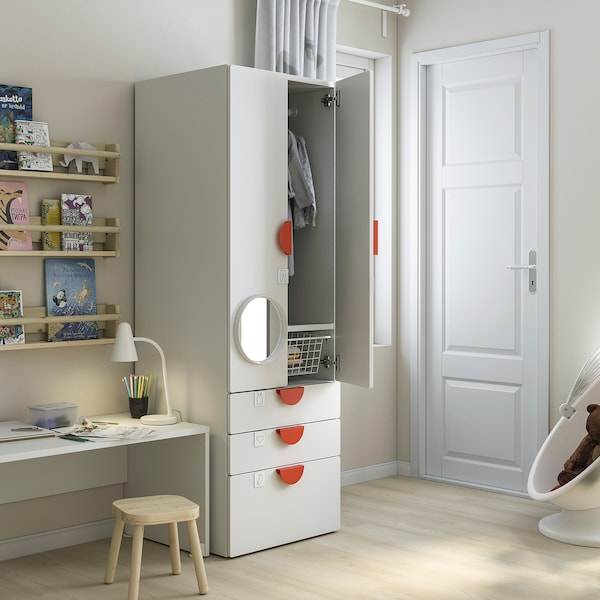 SMÅSTAD خزانة ملابس, أبيض أبيض/مع 3 أدراج, 60x57x181 سم