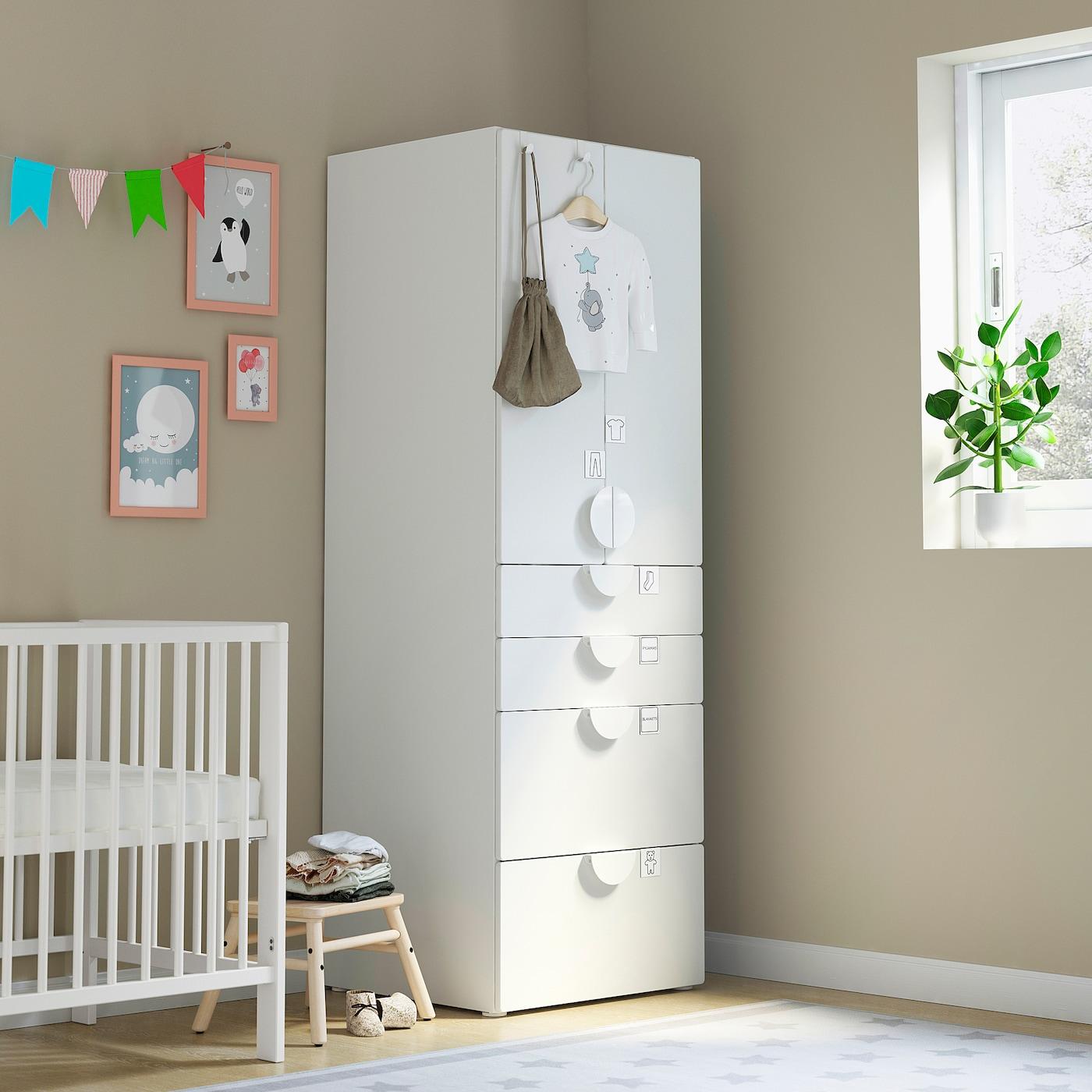 SMÅSTAD خزانة ملابس, أبيض أبيض/مع 4 أدراج, 60x57x181 سم