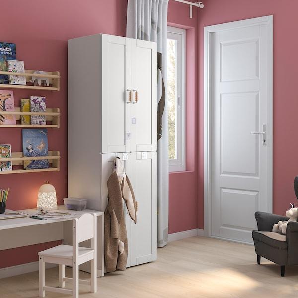 SMÅSTAD خزانة ملابس, أبيض مع إطار/مع ماسورتي تعليق ملابس, 60x42x181 سم