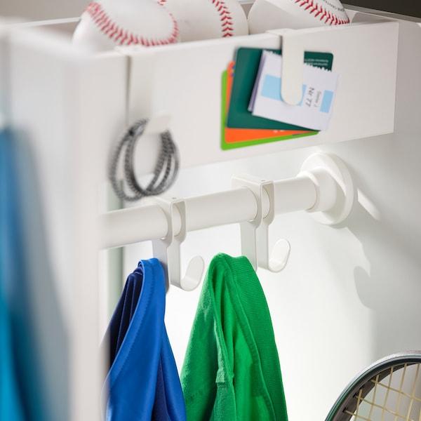 SMÅSTAD خزانة ملابس مع وحدة تُسحب للخارج, أبيض تركواز باهت/مع علاقة ملابس, 60x57x196 سم