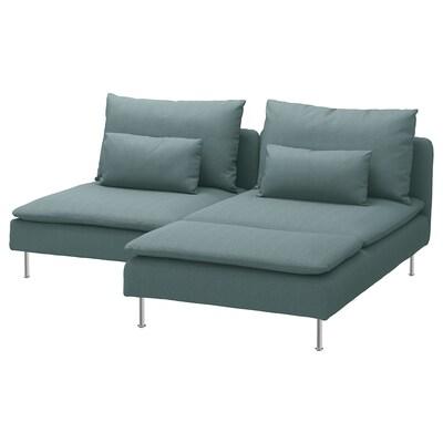 SÖDERHAMN أريكة بمقعدين, مع أريكة طويلة/Finnsta تركواز