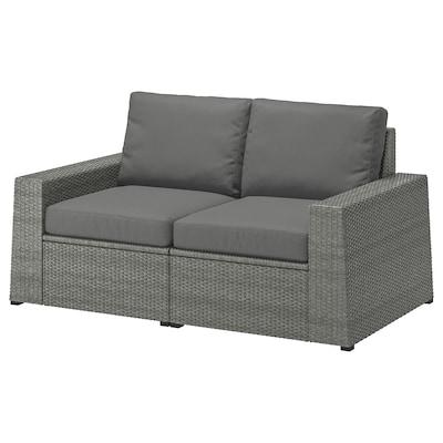 SOLLERÖN وحدة أريكة بمقعدين، خارجي, رمادي غامق/Frösön/Duvholmen رمادي غامق, 161x82x88 سم