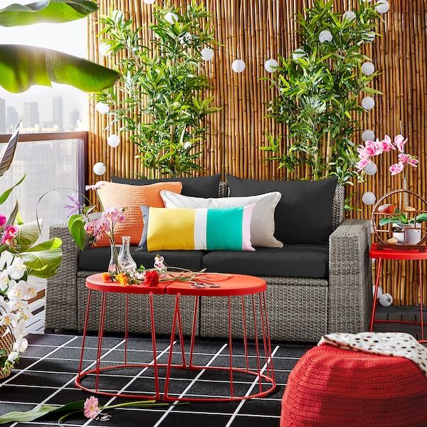 SOLLERÖN 2-seat modular sofa, outdoor, dark grey/Hållö black, 161x82x82 cm