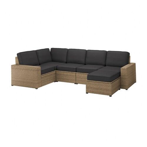 SOLLERÖN modular corner sofa 4-seat, outdoor with footstool brown/Järpön/Duvholmen anthracite 82 cm 90 cm 287 cm 162 cm 46 cm 46 cm
