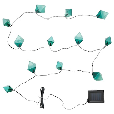 SOLVINDEN LED lighting chain with 12 bulbs, outdoor solar-powered/diamond-shaped blue