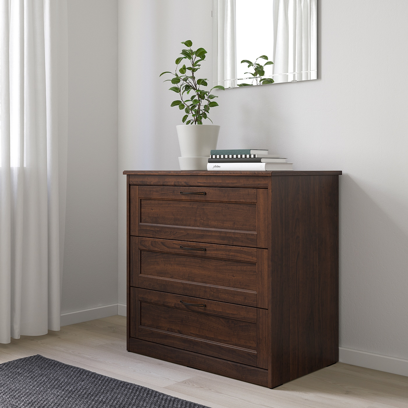 SONGESAND Chest of 3 drawers, brown, 82x81 cm