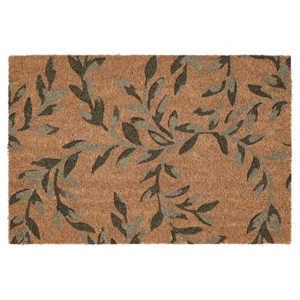 SPARKÄR Door mat, indoor, green leaves, 40x60 cm