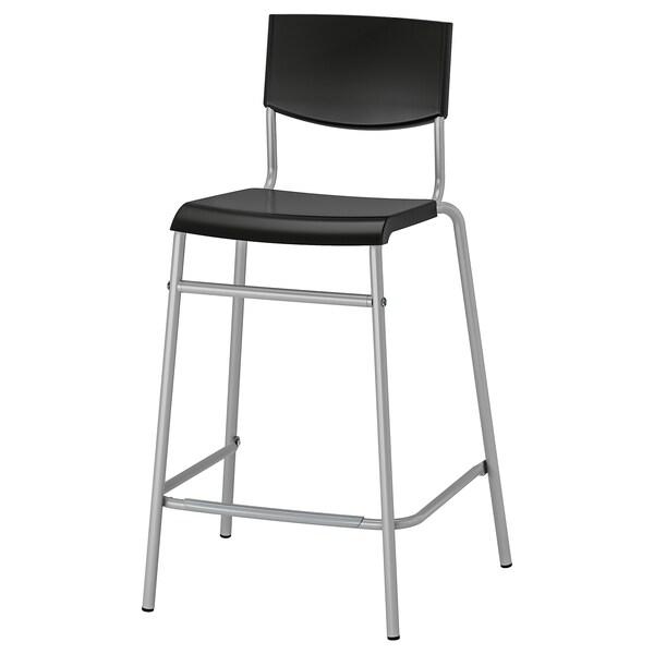 STIG Bar stool with backrest, black/silver-colour, 63 cm