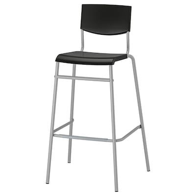 STIG Bar stool with backrest, black/silver-colour, 74 cm