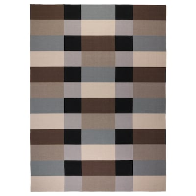 STOCKHOLM Rug, flatwoven, handmade/chequered brown, 250x350 cm