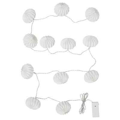 STRÅLA سلاسل إضاءة LED مع 12 لمبة, يعمل بالبطارية/فن طي الورق أبيض