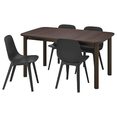 STRANDTORP / ODGER طاولة و4 كراسي, بني/فحمي, 150/205/260x95 سم