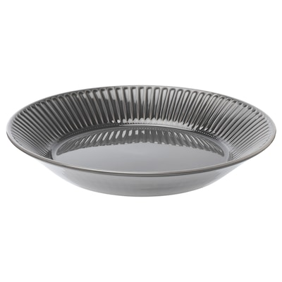 STRIMMIG Serving plate, earthenware grey, 29 cm