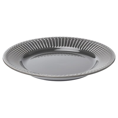STRIMMIG Side plate, earthenware grey, 21 cm