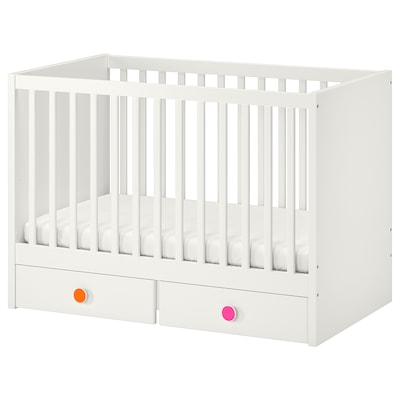STUVA / FÖLJA Cot with drawers, white, 60x120 cm