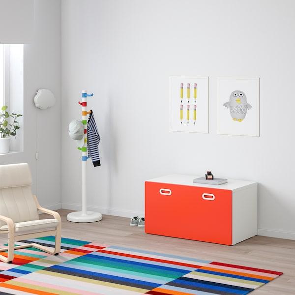 STUVA / FRITIDS Bench with toy storage, white/red, 90x50x50 cm