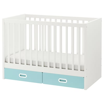 STUVA / FRITIDS Cot with drawers, light blue, 60x120 cm