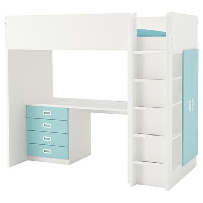 STUVA / FRITIDS Loft bed combo w 4 drawers/2 doors, white/light blue, 207x99x182 cm
