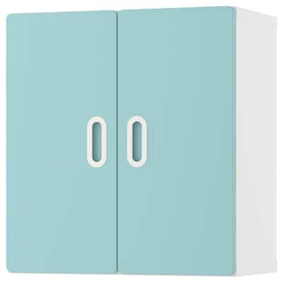 STUVA / FRITIDS Wall cabinet, white/light blue, 60x30x64 cm