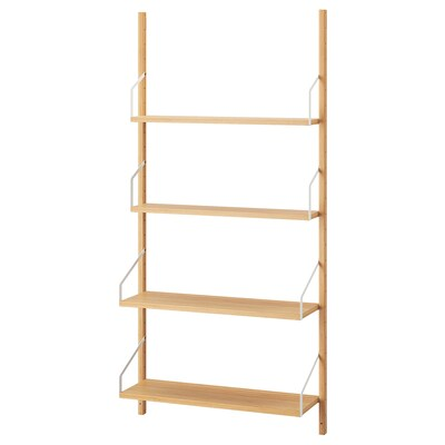 SVALNÄS Wall-mounted shelf combination, bamboo, 86x25x176 cm