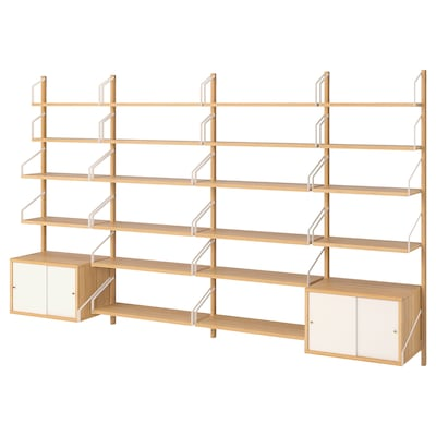 SVALNÄS Wall-mounted storage combination, bamboo/white, 297x35x176 cm