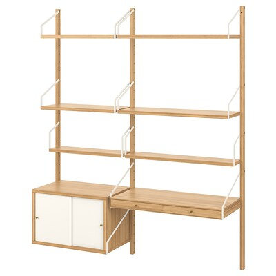 SVALNÄS Wall-mounted workspace combination, bamboo/white, 150x35x176 cm