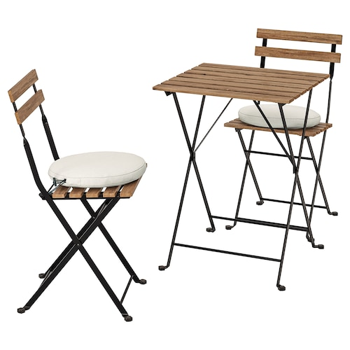 TÄRNÖ table+2 chairs, outdoor black/light brown stained/Frösön/Duvholmen beige