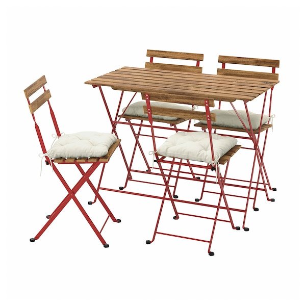 TÄRNÖ Table+4 chairs, outdoor, red/light brown stained/Kuddarna beige