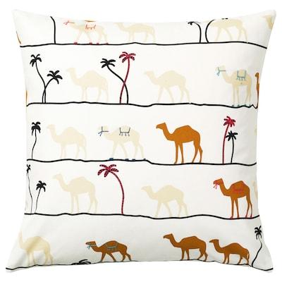 TILLTALANDE Cushion cover, camel pattern/brown, 50x50 cm
