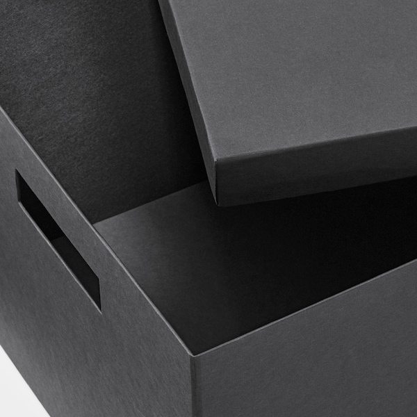 TJENA Storage box with lid, black, 25x35x20 cm