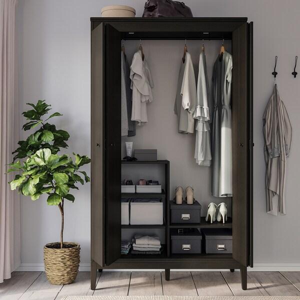 TJOG Storage box with lid, dark grey, 25x36x15 cm