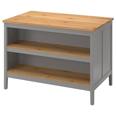 TORNVIKEN Kitchen island, grey/oak, 126x77 cm